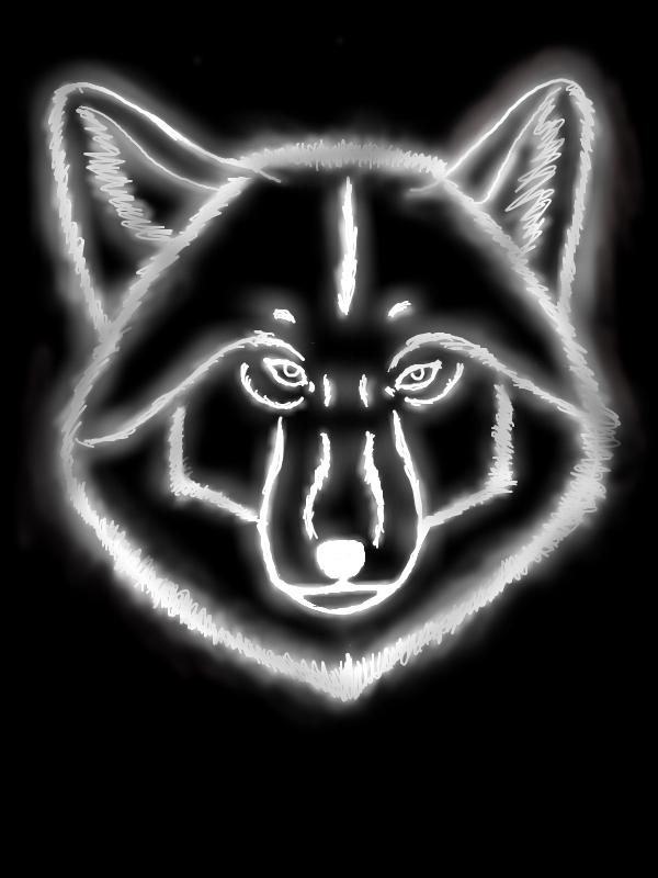 glowing wolf head